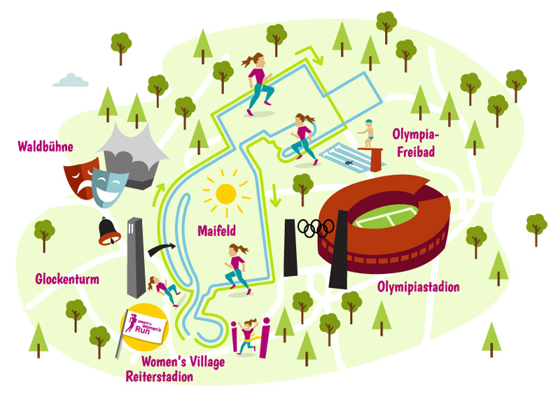 Infografik illustration laufstrecke womens run hamburg