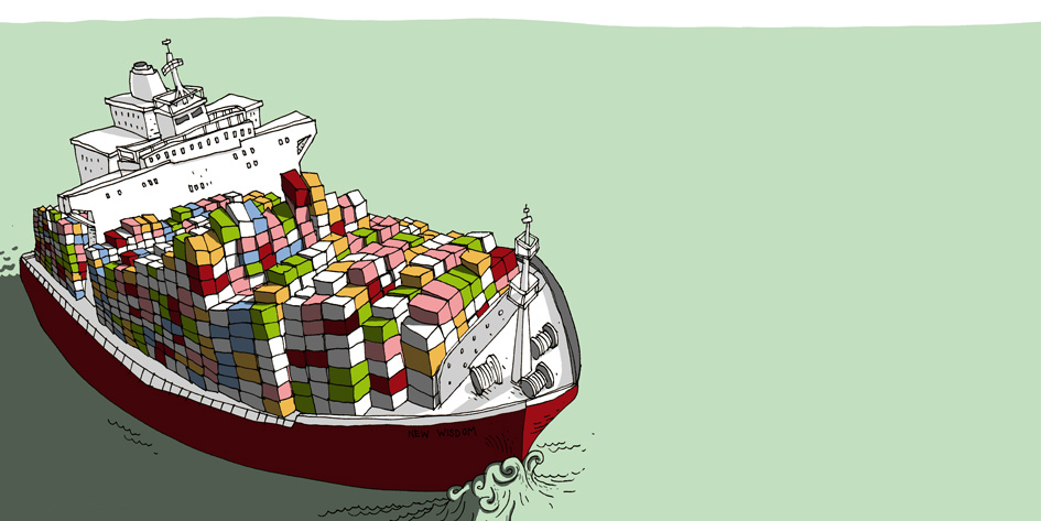 Illustration für kinderbuch: Containerschiff hamburg hafen