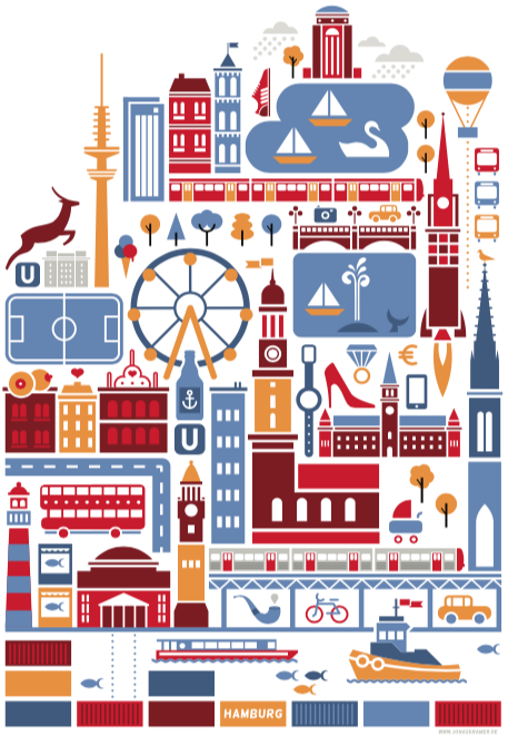 icon piktogramm Illustration: hamburg stadtkarte vektor illustration