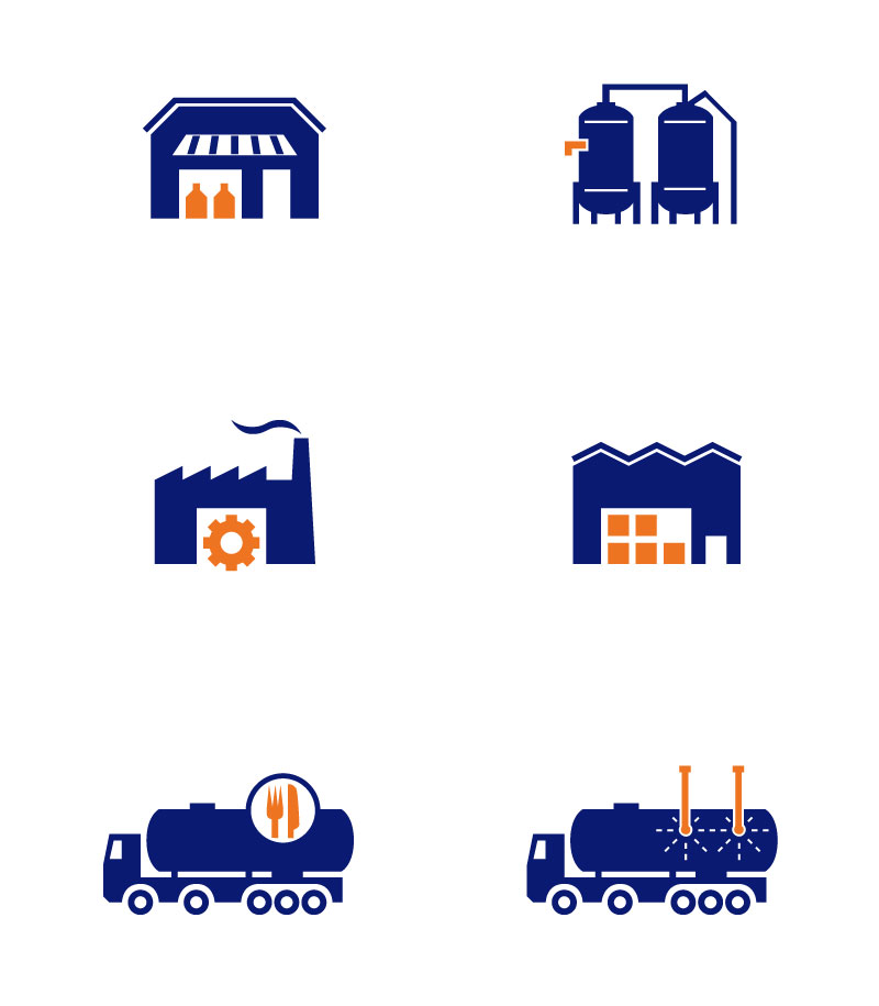 icon piktogramm Illustration Beispiel: fabrik icons