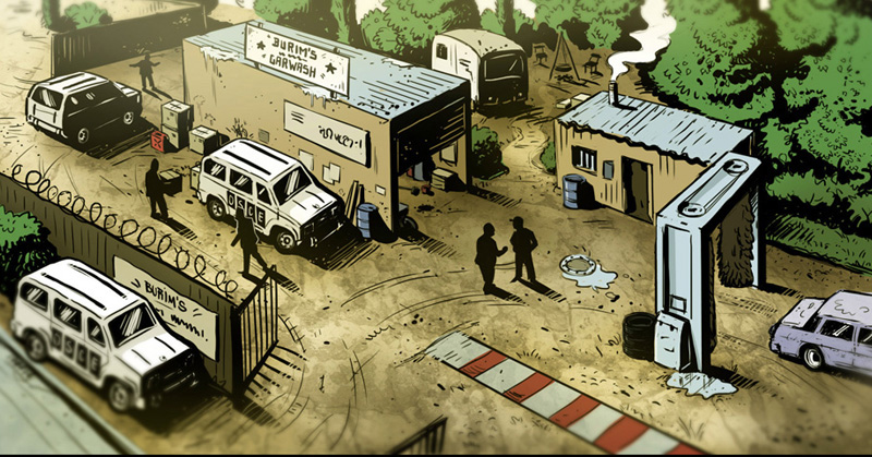 Illustration im comic stil Militärcamps vogelperspektive