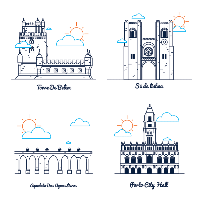 Vektor illustration: Portugal architektur icon piktogramme