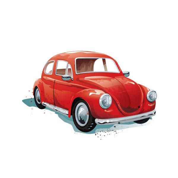 Aquarell Illustration roter VW Käfer