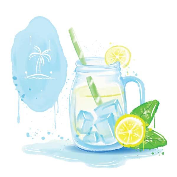 Aquarell Illustration Krug mit Eistee und zitrone im Sommer