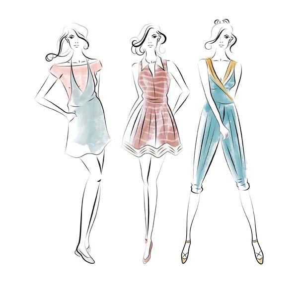 Aquarell Illustration von 3 Frauen mit modernen Kleidern