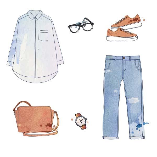Aquarell Illustration von Mode Accessoires Hemd Hose Brille Handtasche