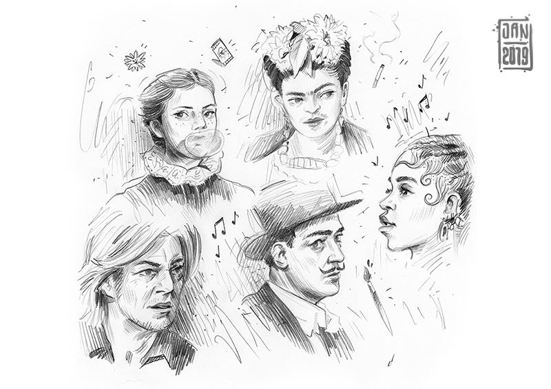 Illustration skizzenbuch portrait: frida kahlo, dali und weitere