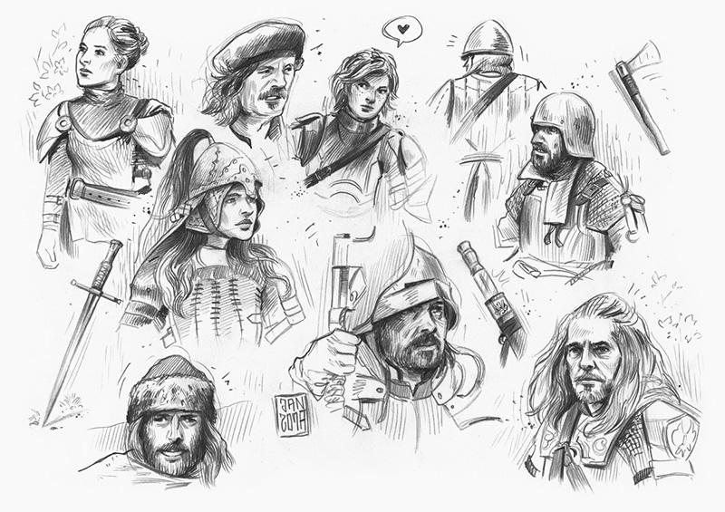 Illustration skizzenbuch: ritter und knappen mittelalter