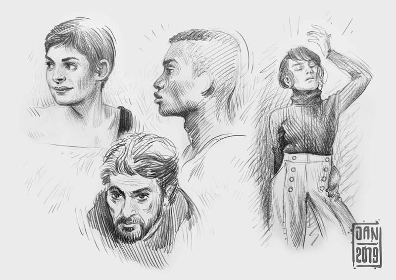 Illustration skizzenbuch porträts