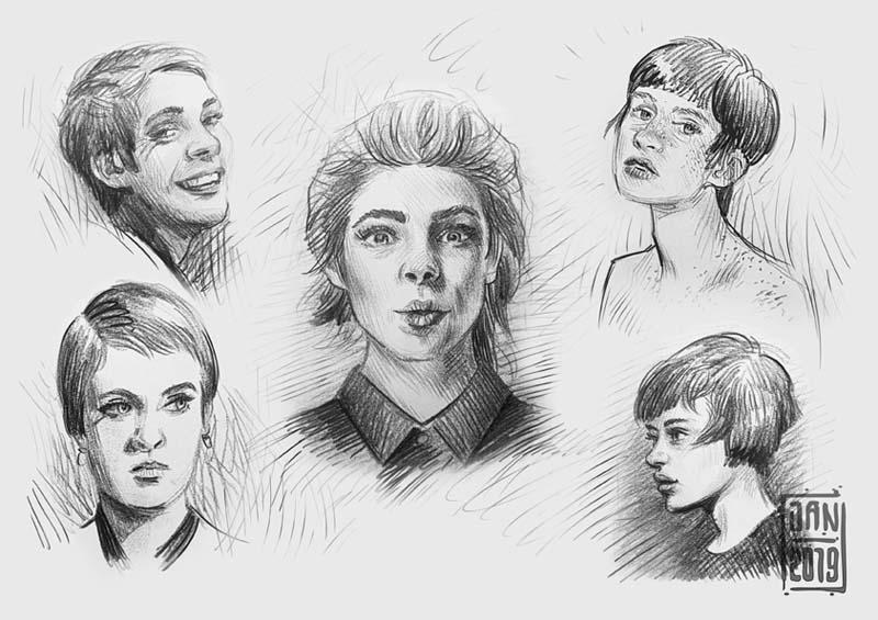 Illustration skizzenbuch porträts: schöne frauen