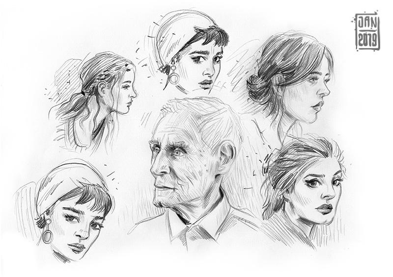 Illustration skizzenbuch porträts: frauen und alter mann