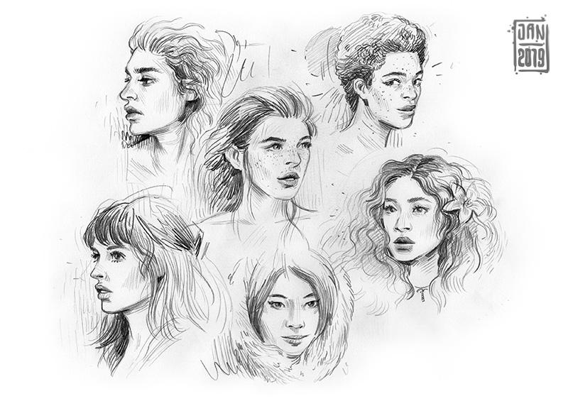 Illustration skizzenbuch porträts: frauen schönheiten
