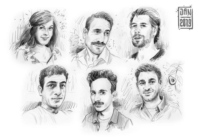 Illustration skizzenbuch portrait: junge männer freunde
