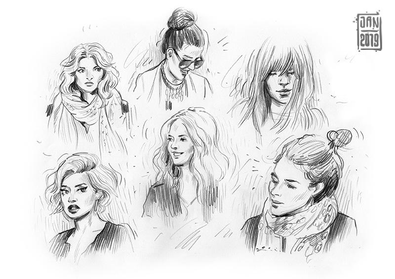 Illustration skizzenbuch porträts: junge frauen mit schal