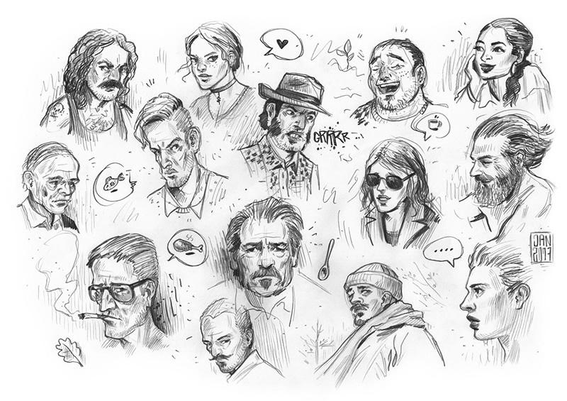 Illustration skizzenbuch comic charaktere: männer und frauen